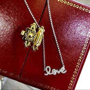 Jewelry - Women's 14 KT White Diamond Love Necklace